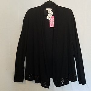 Black drape top with sequin detailing
